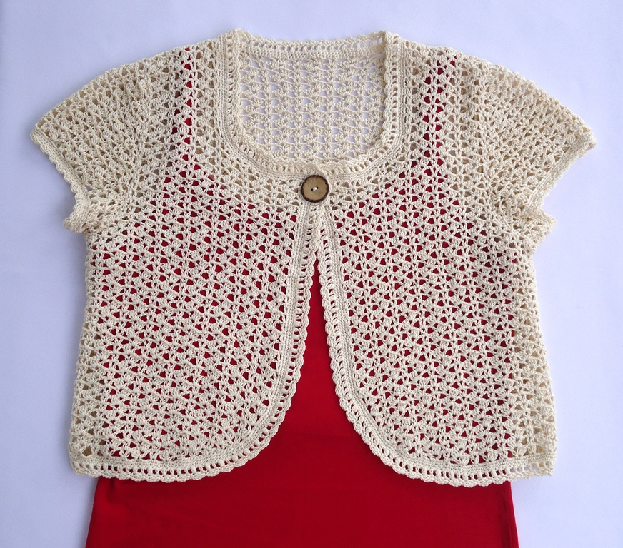 Crochet X-Stitch Shrug Free Pattern : Stitch of Love: The first Bolero I ? to wear!