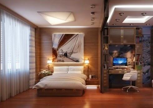Kamar Tidur Menyatu dengan Ruang Kerja