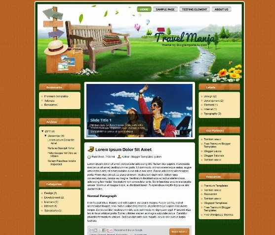 Travel Mania Blogger Template