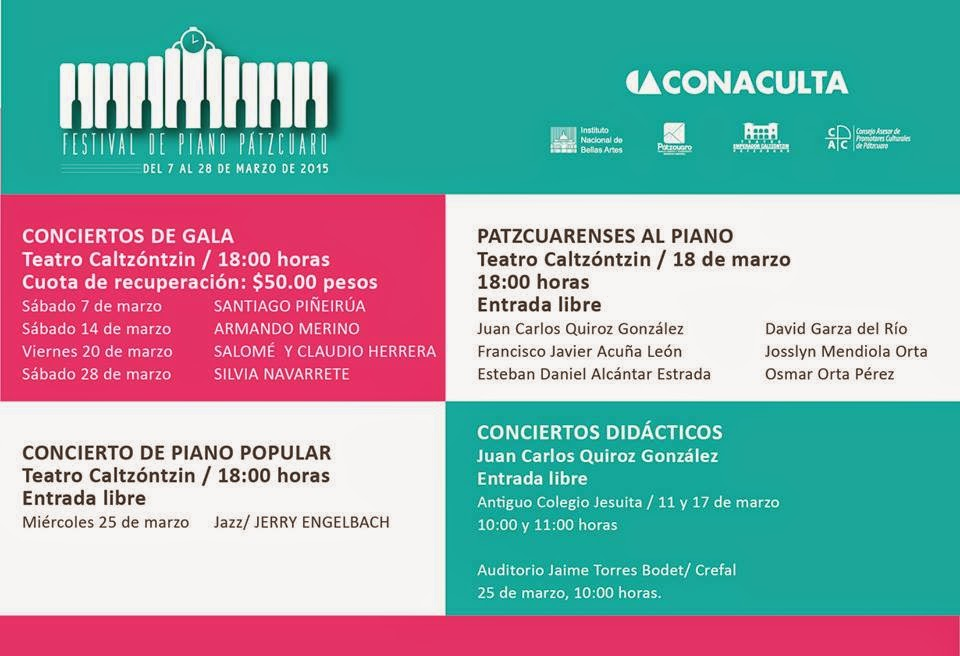 Programación del 6° Festival de Piano de Pátzcuaro