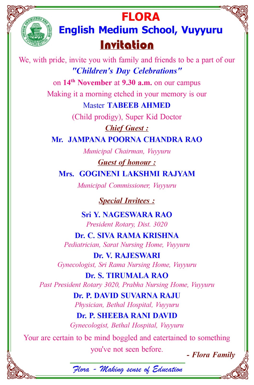 Wonder Kid Doctor Grand and outstanding felicitation by Flora School