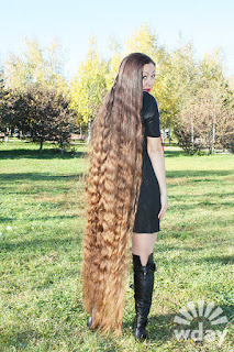 Real-Life Rapunzel floor length hair