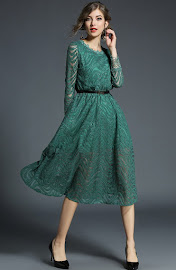 2018 Long Sleeve Black/Green/Brown Flare Lace Dress