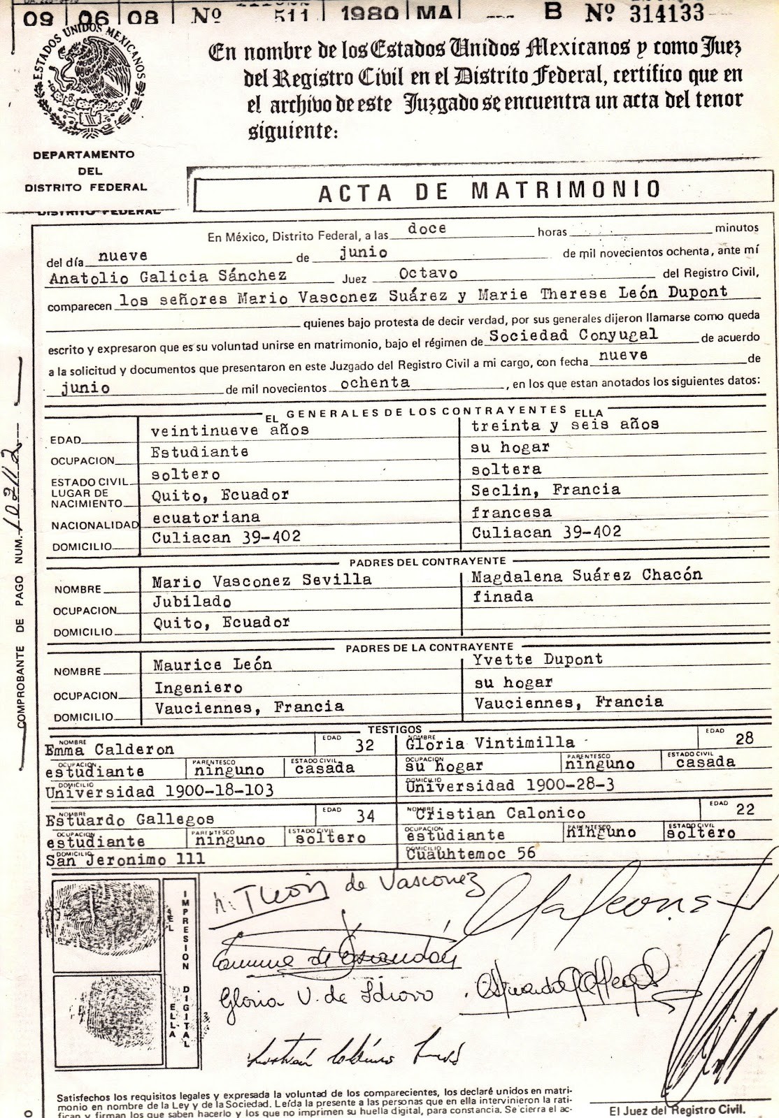 Actas De Matrimonio Civil