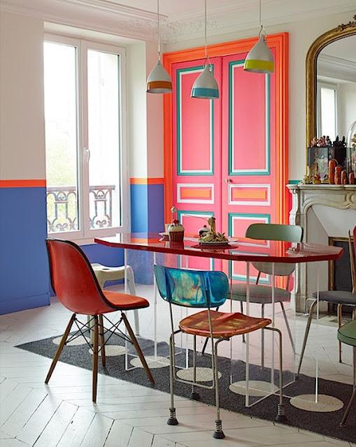 La fabrique d co oser la couleur peindre les portes - Peinture interieur appartement ...