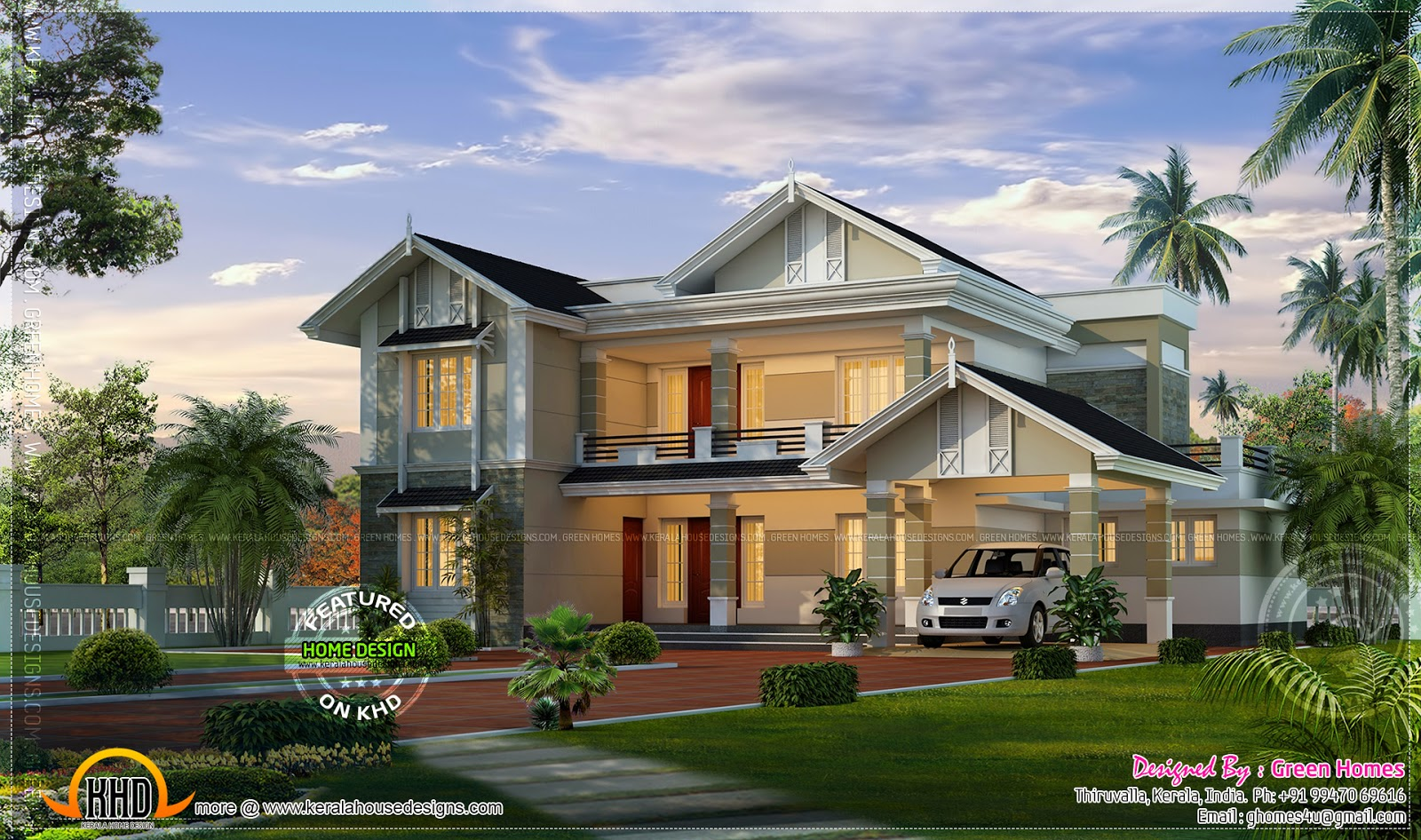 Siddu buzz online kerala home design for Villa style homes
