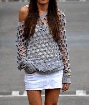 Sugestão de uma blusa, aqui com mangas longas..