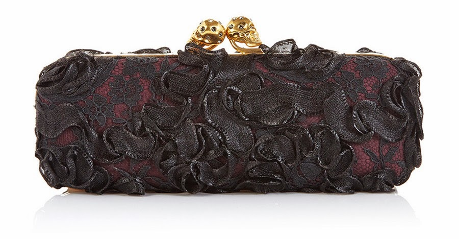 Alexander McQueen Twin Skull Clutch (satin & lace)