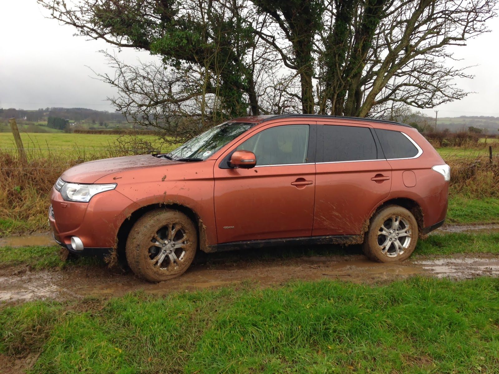 The Mitsubishi Outlander in a bit of a state, but back on solid ground