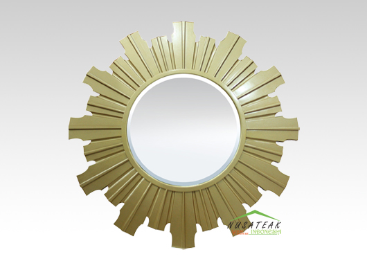 Carved Wall Mirror Dahlia in Gold Finish