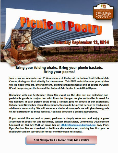 Picnic of Poetry, Indian Trail Cultural Arts Center, Kym Gordon Moore