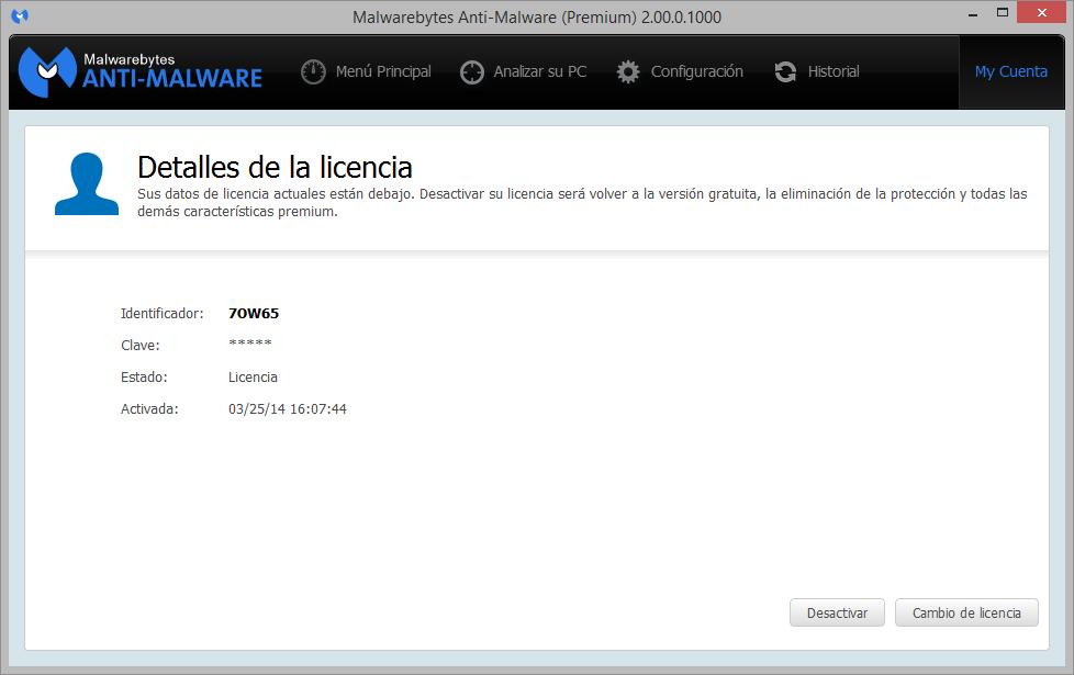 licencia Malwarebytes Premium 2