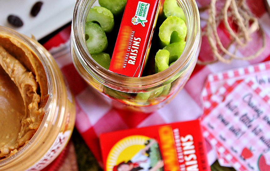 Free Printable! Make ahead 'Ants On A Log' jars. Leave one in the break room fridge for a hungry co-worker at snack time! #SpreadTheMagic with new Peter Pan Simply Ground peanut butter- the perfect blend of smooth and a little bit crunchy. (ad)