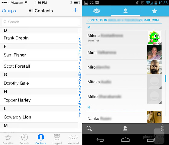 iOS 7 vs Android 5.0: Dialer and Contacts