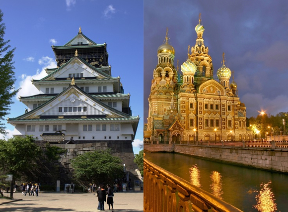 tokyo and st petersberg monuments