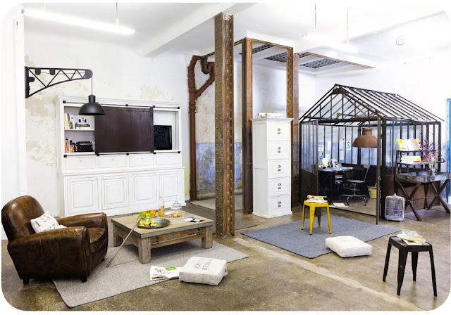 loft with winter garden structure as office