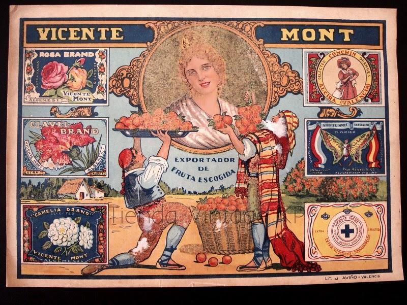 Venta de carteles antiguos de frutas y naranjas valencianas. Posters vintage