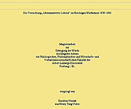 """MA-Arbeit:KAROLINA NOWAK: Die Vernichtung """"lebensunwerten Lebens"""" im Reichsgau Wartheland 1939-1945"""