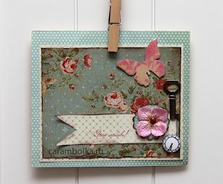 Открытка, сделанная вручную. Бабочка-чипборд покрыта глосси акцентом. Металлический ключик. Цветочек, брадсы. Скрап-фишка. Штампик Это любовь! Магазин Скрапбукшоп.