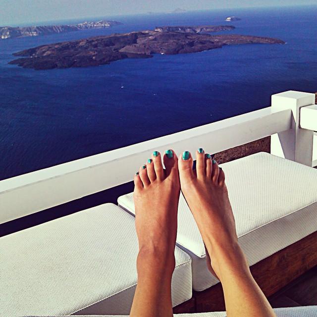 Santorini Instagram @lelazivanovic. Santorini, view at Caldera. Aqua luxury suites, Imerovigli, Santorini.