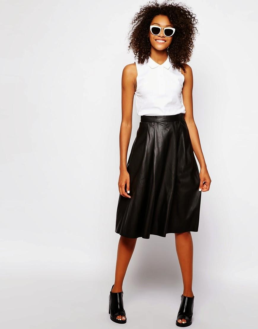 leather look full skirt
