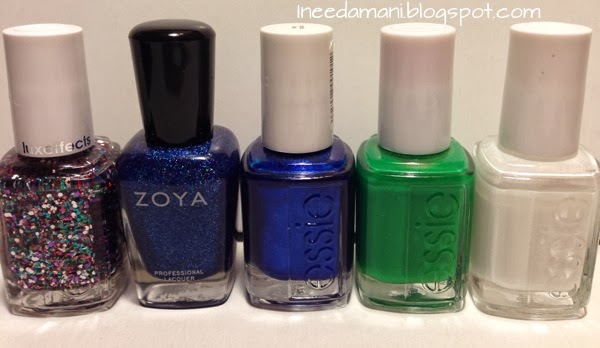 zoya dream essie shake your $$ maker jazzy jubilant aruba blue blanc