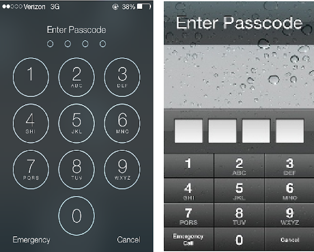 iOS 7 Vs iOS 6 Passcode Screen