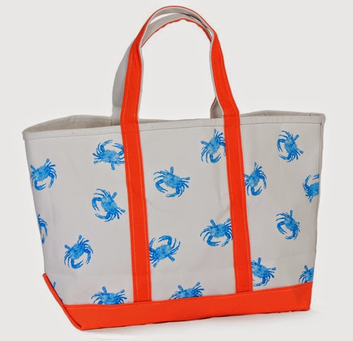 preppy canvas blue crab tote