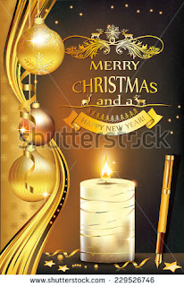 Merry Christmas and a Happy New Year - greeting card for printing