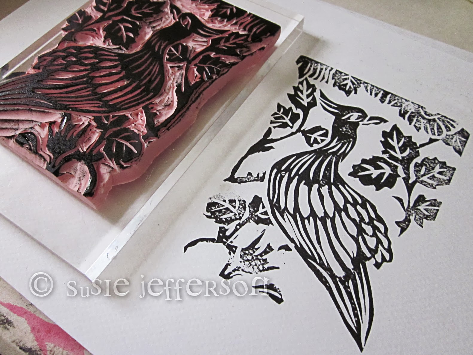 Stamp carving some finished cards st floor flat