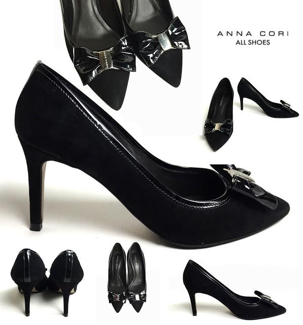 PRET REDUS!-ANNA CORI-Pantofi negri  stiletto din piele naturală întoarsă şi lac,  mărimea 38