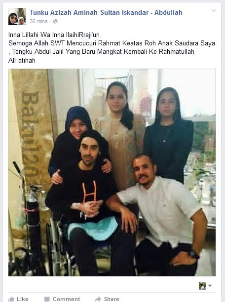 Tunku Jalil Anakanda Sultan Johor Meninggal Dunia