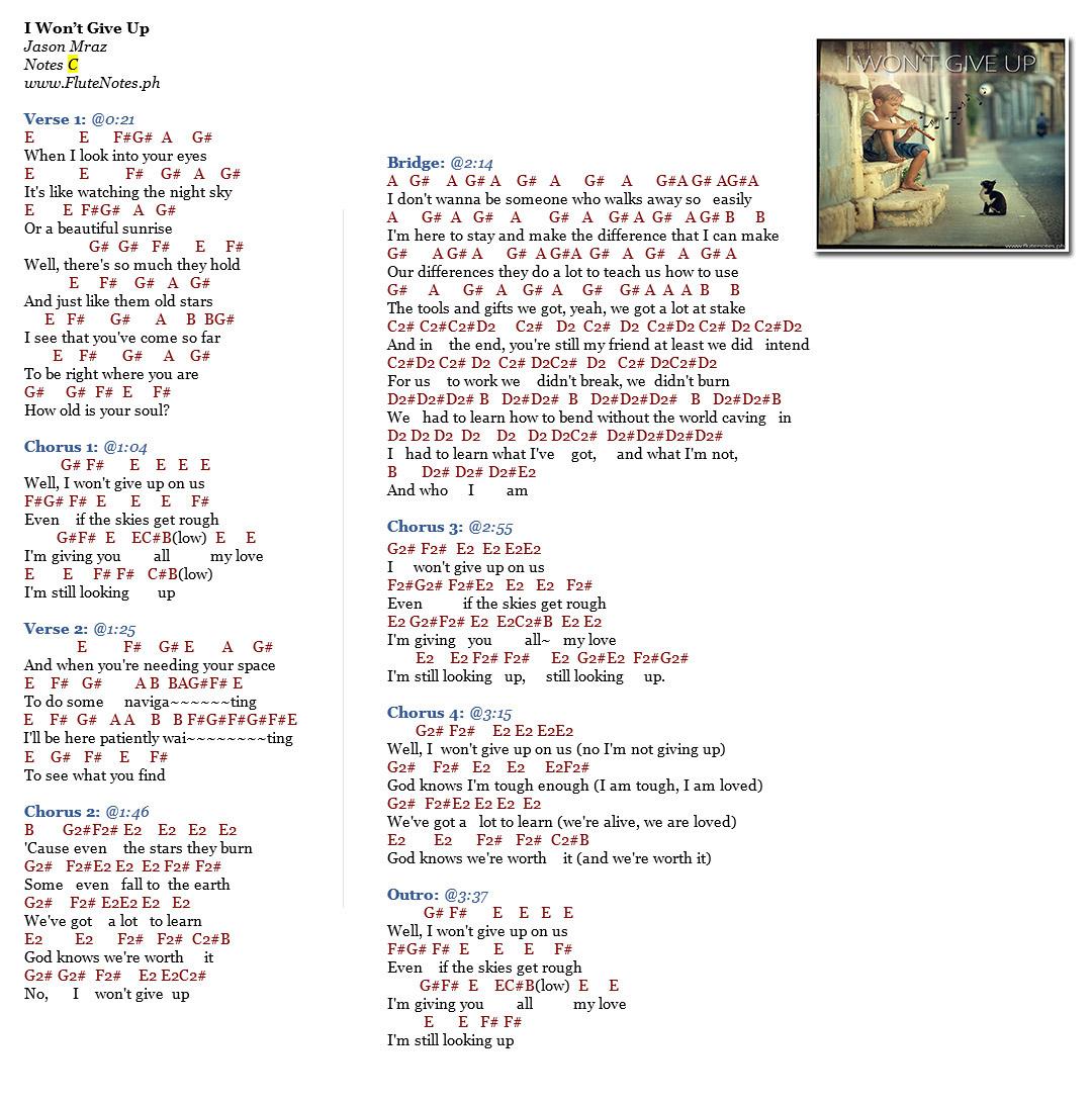 I wont give up jason mraz music letter notation with lyrics open image in new tab to enlarge hexwebz Choice Image