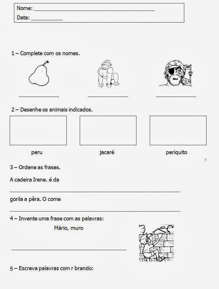 Tarefas para Alfabetização - Complete os nomes - Ordene as Frases