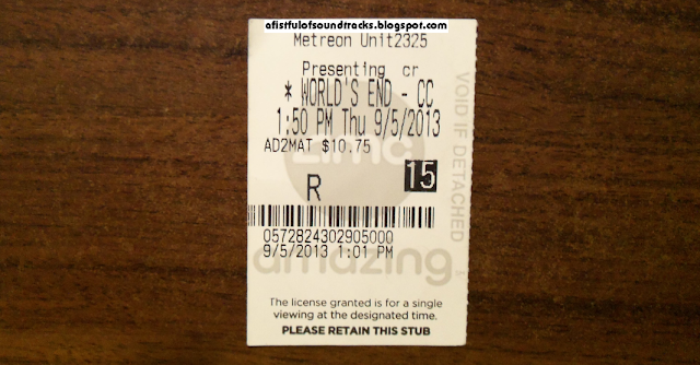 I wish I could snap a photo of this World's End movie ticket lying on an actual pub counter covered with coasters, water marks left by drinking glasses and boozehound vomit, but the pic wouldn't turn out well under such dim lighting--and boozehound vomit.