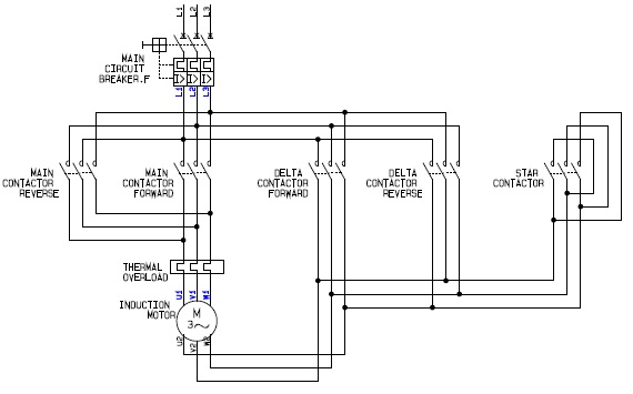 Electrical Schematic Wiring Diagram for the Power Circuit of a Forward Reverse Star (Wye) Delta Motor Controller