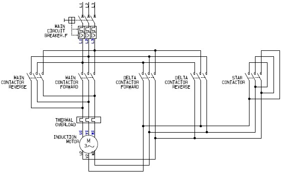 Power circuit of a star delta or wye delta forward reverse for Forward reverse dc motor control circuit