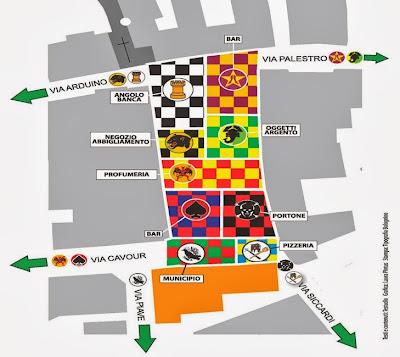 """Mapa de la plaza central dividida en """"rione"""""""
