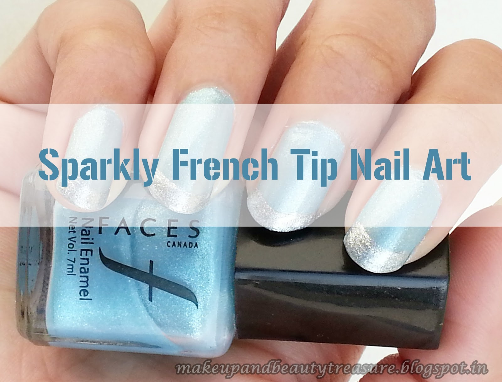 Makeup and Beauty Treasure: Sparkly French Tip Nail Art