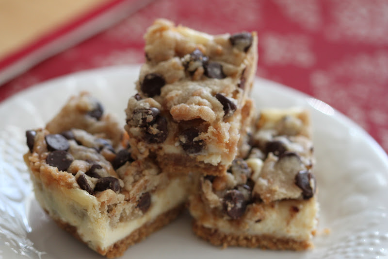... and Honey: Chocolate Chip and Toffee Cookie Dough Cheesecake Bars