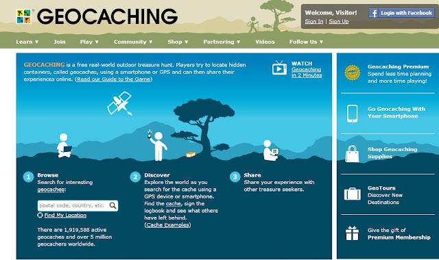 Geocaching sitesi ana sayfa