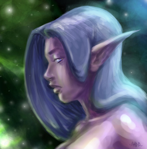 Night Elf Portrait por capoman2000