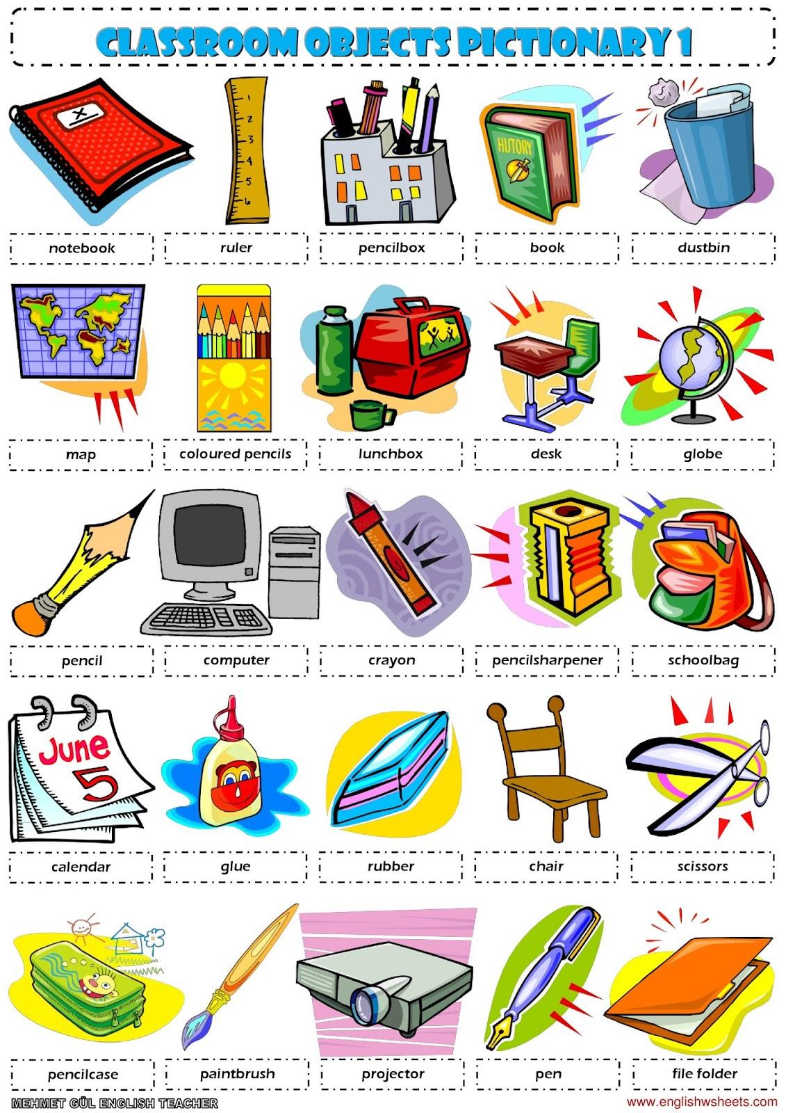 simple classroom items flashcard pdf