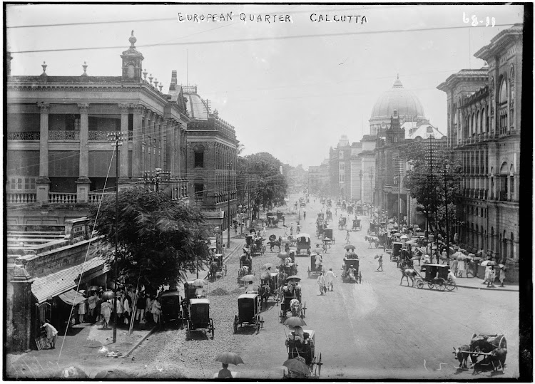 Horse-drawn Vehicles in a Busy Office Street - Calcutta (Kolkata), India, 1922
