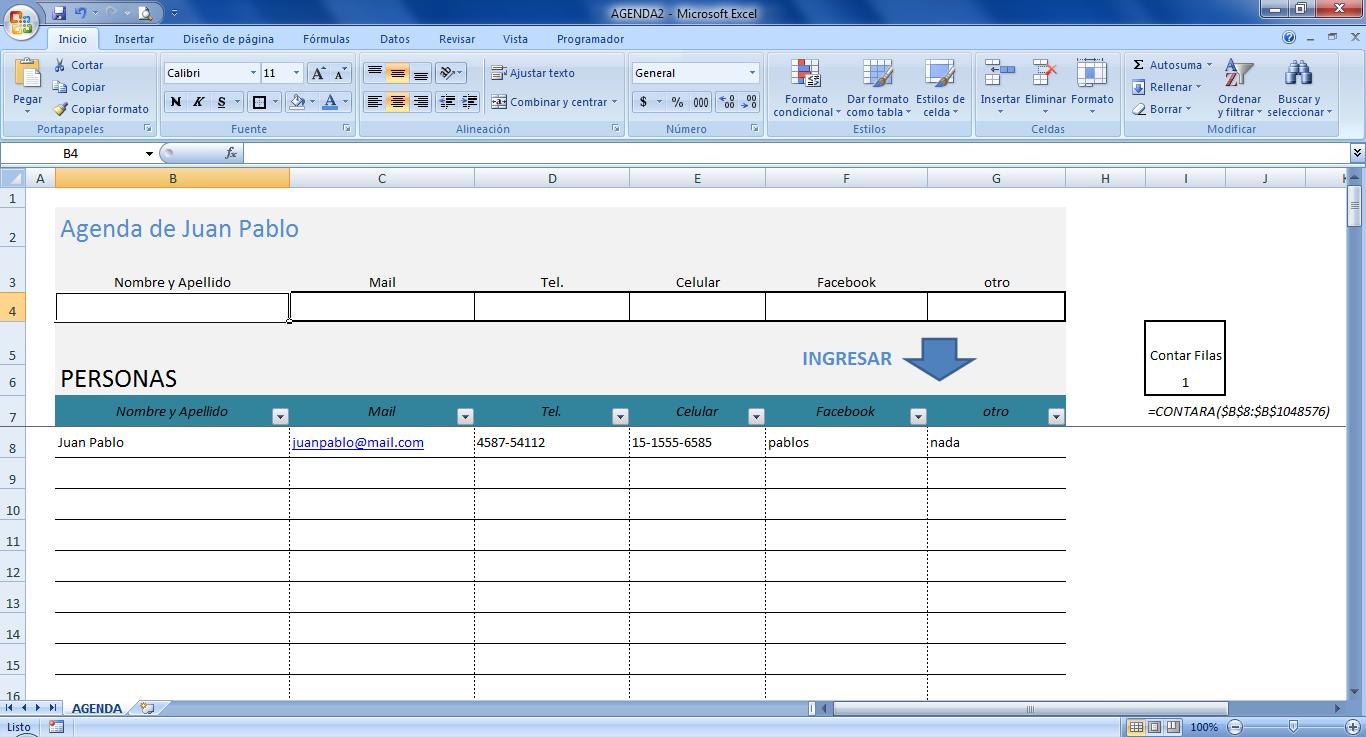 ... , Mini aplicaciones en Excel: Agenda en Excel (Address Book in Excel