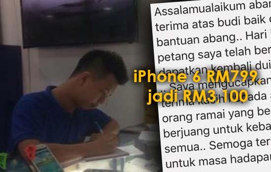 Bengang iPhone 6 RM799, jadi RM3,100