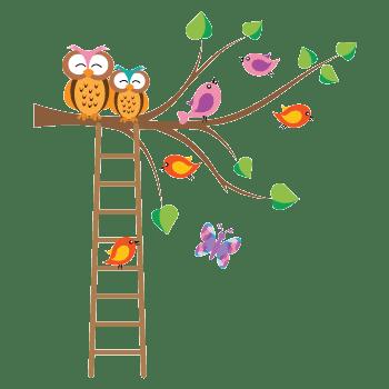 buhos y pajaros en árbol