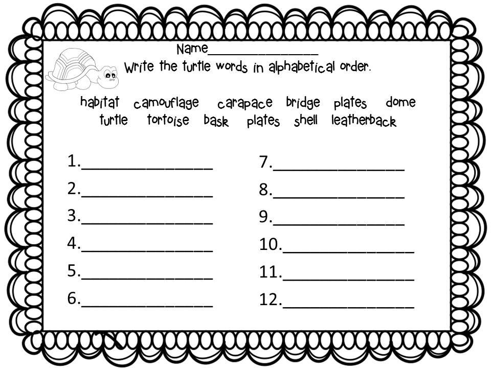 Schoolroom Swag: Morning/word work freebie and Totally Turtles!