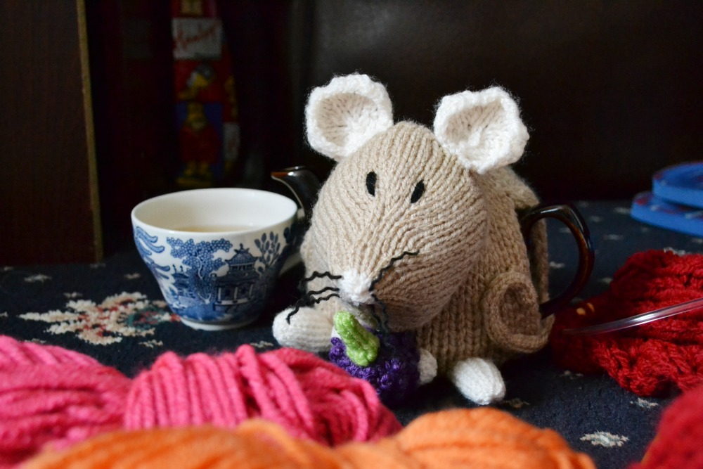dormouse tea cosy knitted tea pot vintage blue china cup yarn
