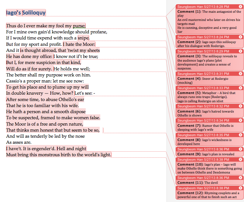 iagos soliloquy at the end of act 1 essay In act 1 scene 3 of othello, we have soliloquies from both othello and iago  he  lays out his plan to cheat roderigo out of his money, or as iago puts it,  but as  he tells the audience of his plan at the end, his tone rises to an.